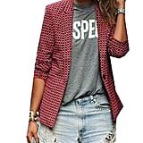 XQS Fashion Plaid Blazer