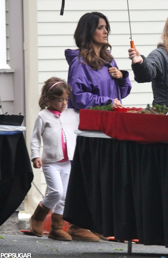 Salma Hayek and daughter Valentina Pinault hung out on the Boston set of Grown Ups 2.