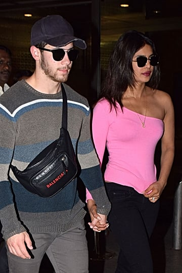 Priyanka Chopra in Pink One-Shoulder Shirt