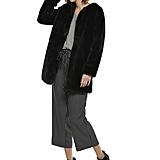 Faux Fur Coat in Jet Black