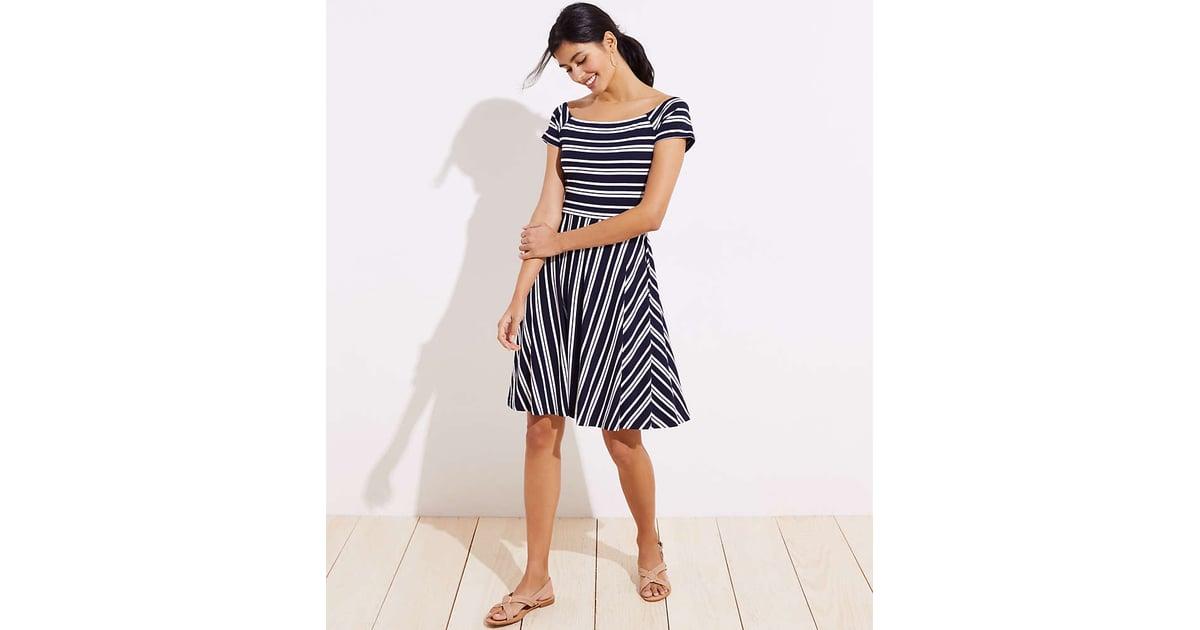 Loft Striped Wrap Back Flare Dress Best Summer Dresses