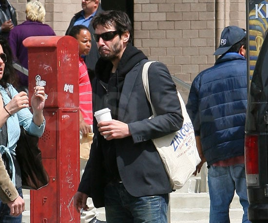 Slide Picture of Keanu Reeves Getting Coffee in New York