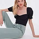 UO Cassia Puff-Sleeve Cropped Top