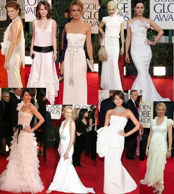 White Frocks at The Golden Globes