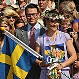 Crown Princess Victoria of Sweden and Daniel Westling attend Victoria's festive 32nd birthday celebrations.