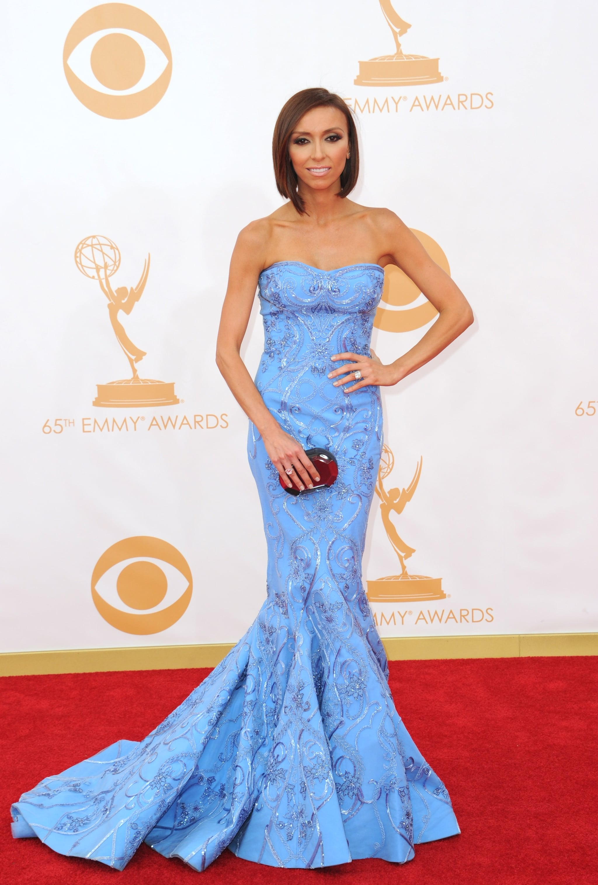 Cornflower blue was it for Giuliana Rancic, who went with a Mikael D style from Resort 2014.