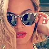 Beyoncé gave us a real close look at her new Illesteva sunglasses. Shop it: Illesteva Leonard Sunglasses ($260).  Source: Instagram user beyonce