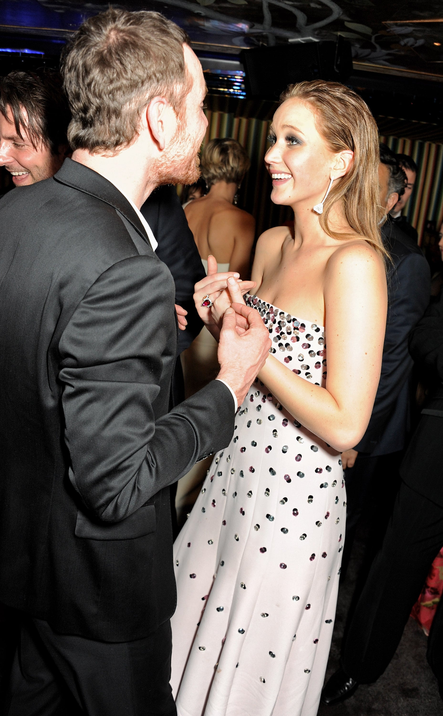 Jennifer Lawrence chatted with Michael Fassbender during a post-BAFTAs party.