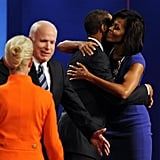 Michelle congratulated Barack after a debate.