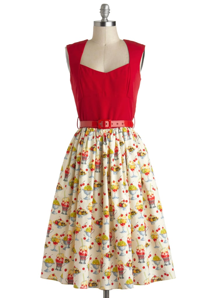 We have a feeling you'll get the urge to break out your sundae best in this  icecream-printed retro dress ($156).