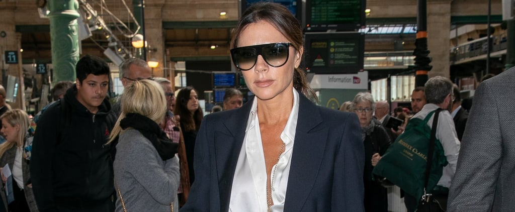 Victoria Beckham Black Suit and Silk Blouse in Paris 2018