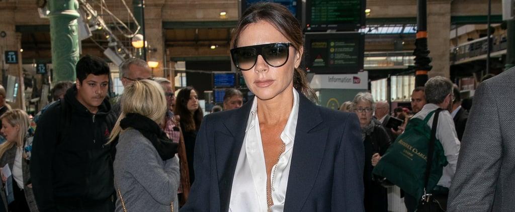 Victoria Beckham Black Suit and Silk Blouse in Paris 2018
