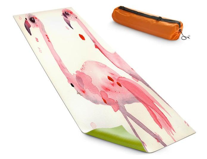 Three Flamingos DiaNoche Yoga Mats by Dawn Derman