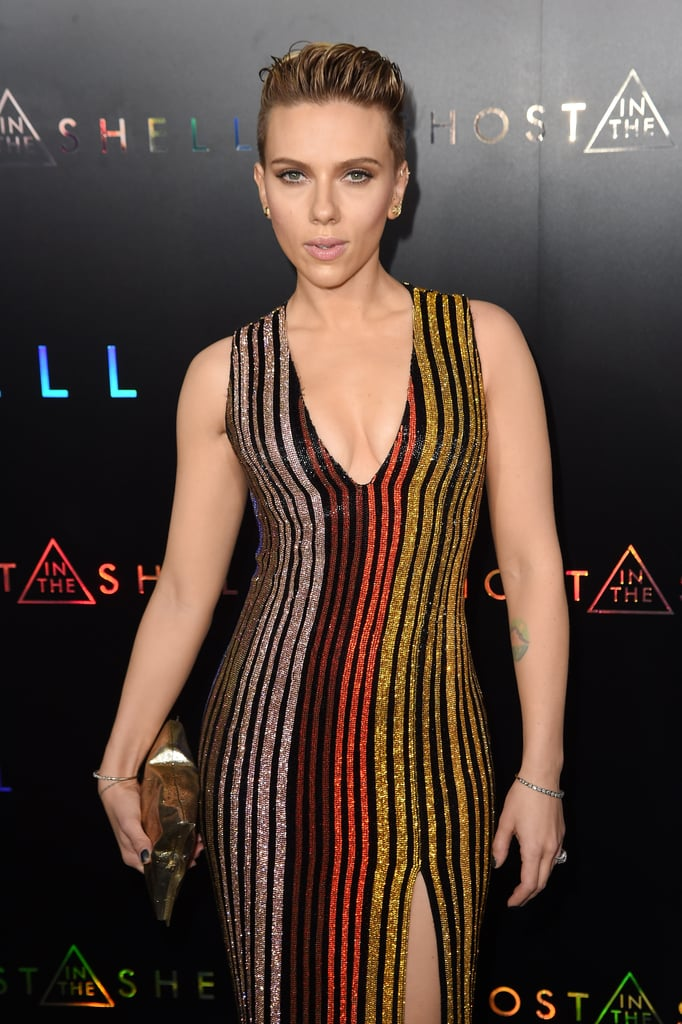 Scarlett Johansson At Ghost In The Shell Premiere In Nyc Popsugar Celebrity