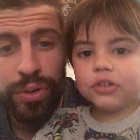 Gerard Pique Sings FC Barcelona Anthem With Son Milan