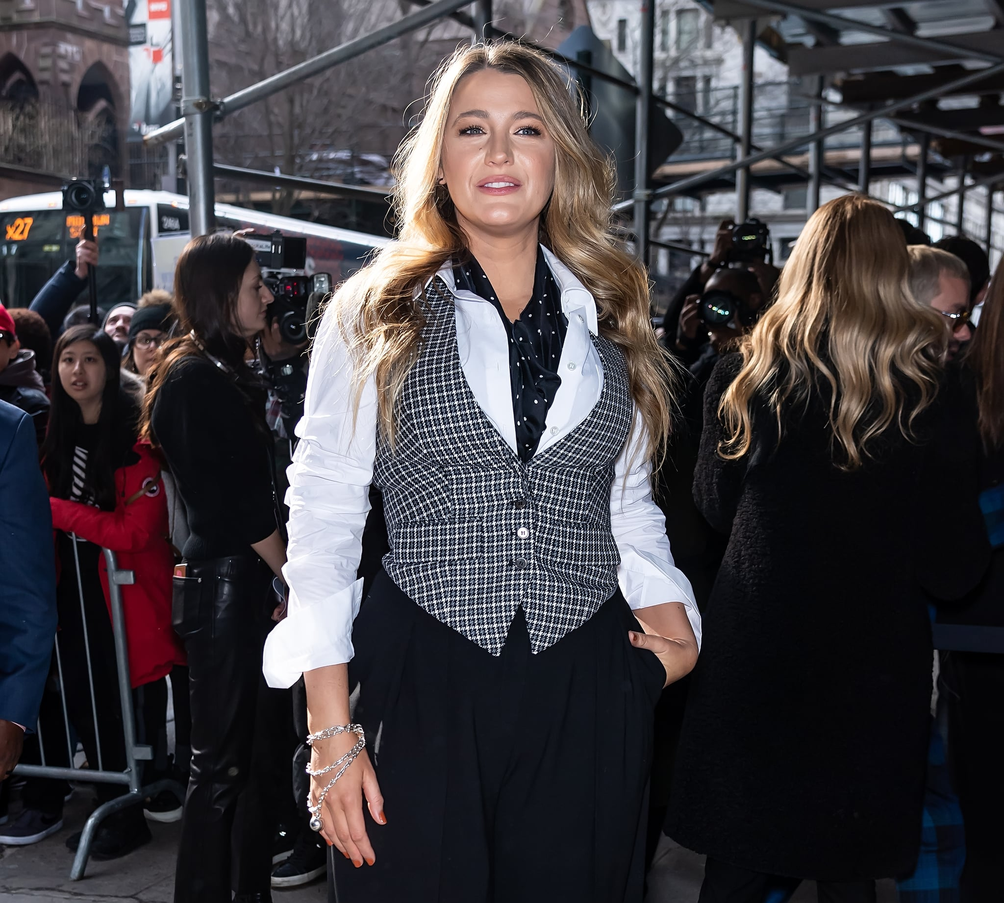 NEW YORK, NEW YORK - FEBRUARY 12: Actress Blake Lively is seen arriving to the Michael Kors FW20 Runway Show on February 12, 2020 in New York City. (Photo by Gilbert Carrasquillo/GC Images)