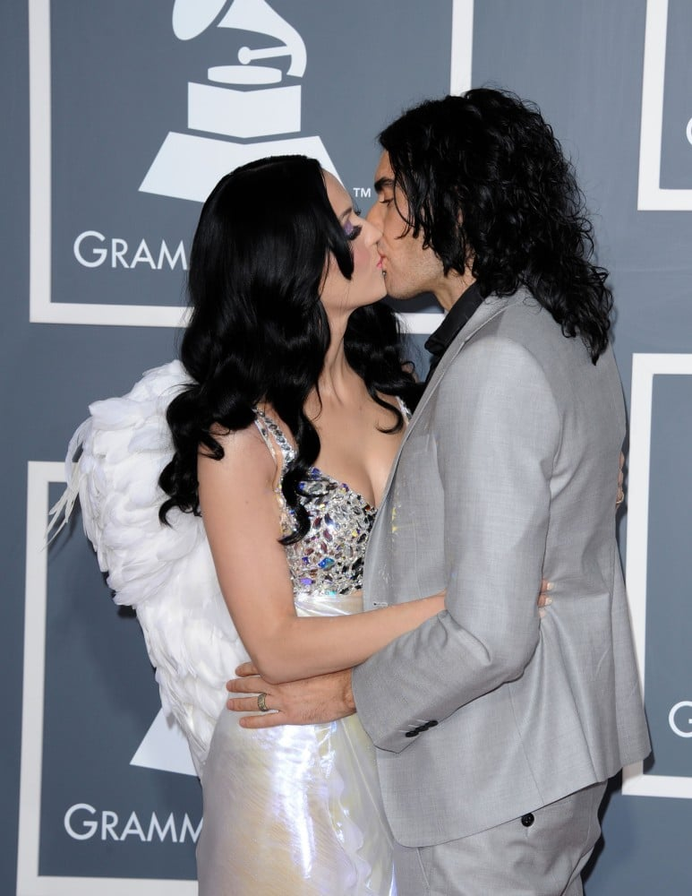 Katy Perry got a good-luck peck from her then-husband Russell Brand at the Grammys in February 2011.
