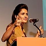 Salma Hayek took to the podium prior to her Americano screening.