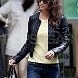 Pippa Middleton sported a quilted leather jacket.
