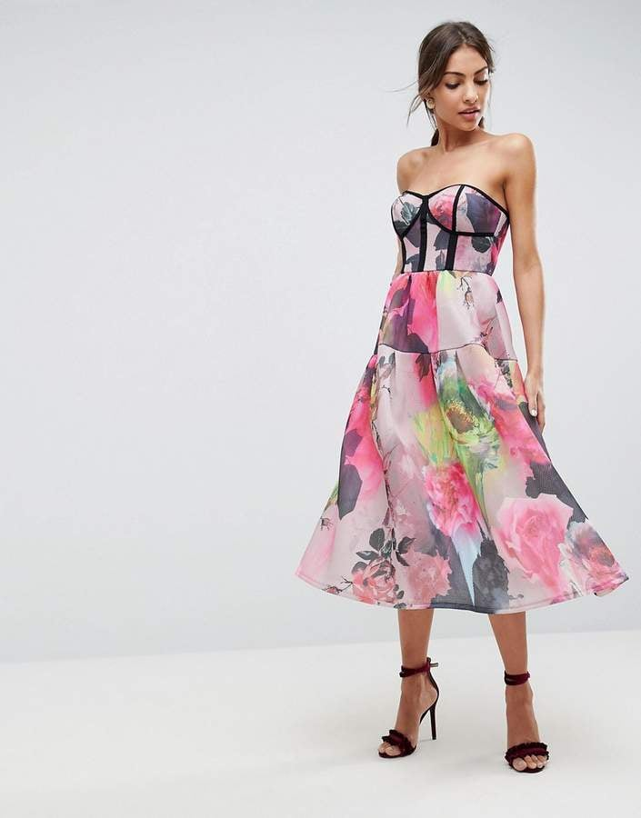 Asos Bonded Mesh Floral Midi Prom Dress Best Wedding Guest Dresses