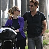 Anna Paquin and Stephen Moyer took their new twins for a walk.
