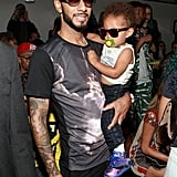 Alicia Keys's son Egypt had a front-row seat on dad Swizz Beatz's lap (and next to Paris Hilton) for the Jeremy Scott's show.