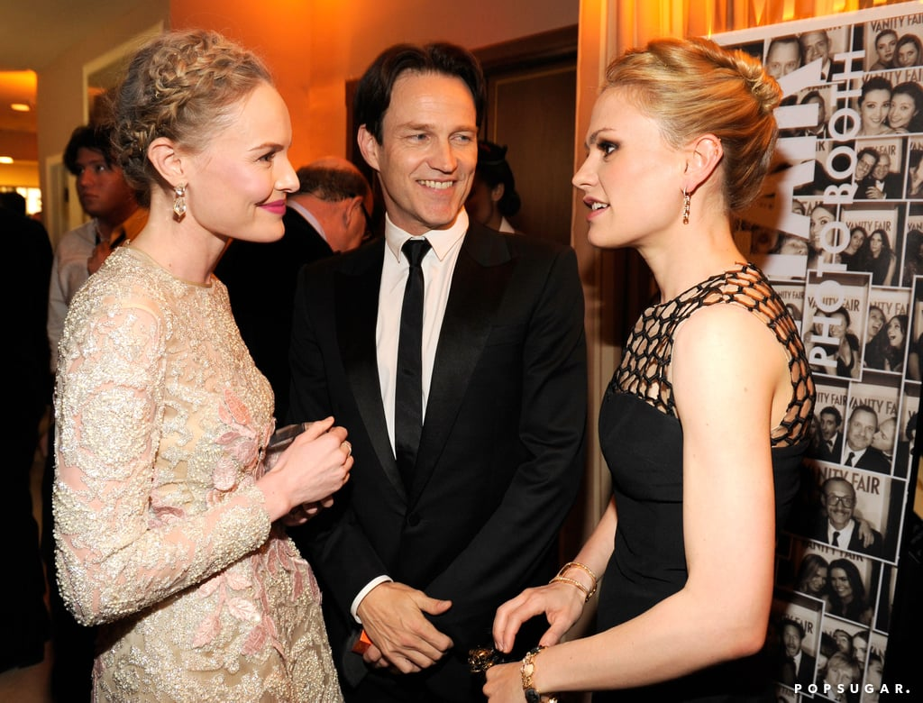 Kate Bosworth chatted with Anna Paquin and Stephen Moyer at Vanity Fair's Oscar after-party.