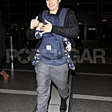 Orlando Bloom and son Flynn Bloom arrived at LAX for a flight.