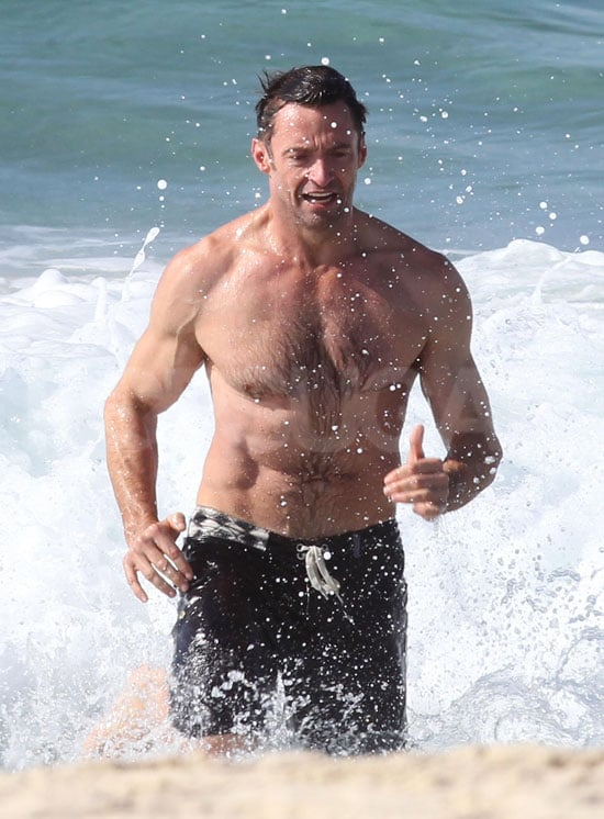 Hugh Jackman braved icy waters at Bondi Beach.