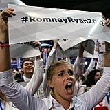 A woman held a sign in support of the Romney/Ryan ticket.