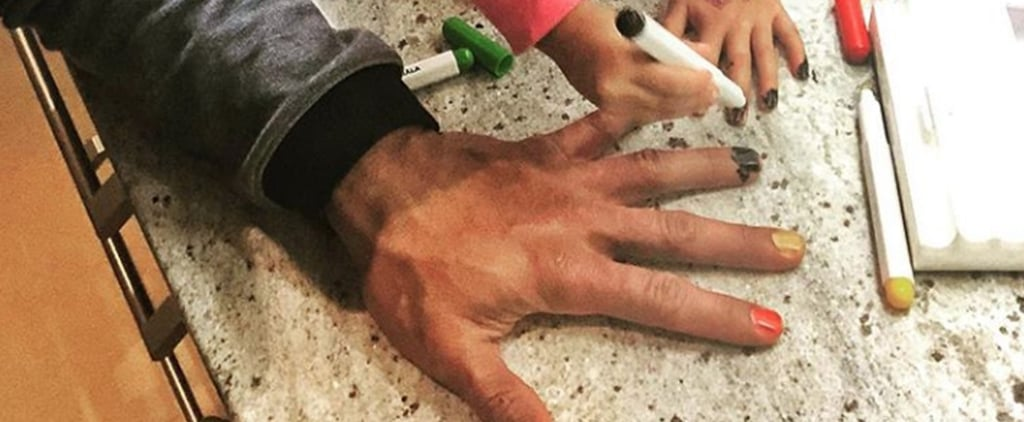 Dwayne Johnson's Daughter Paints His Nails November 2018