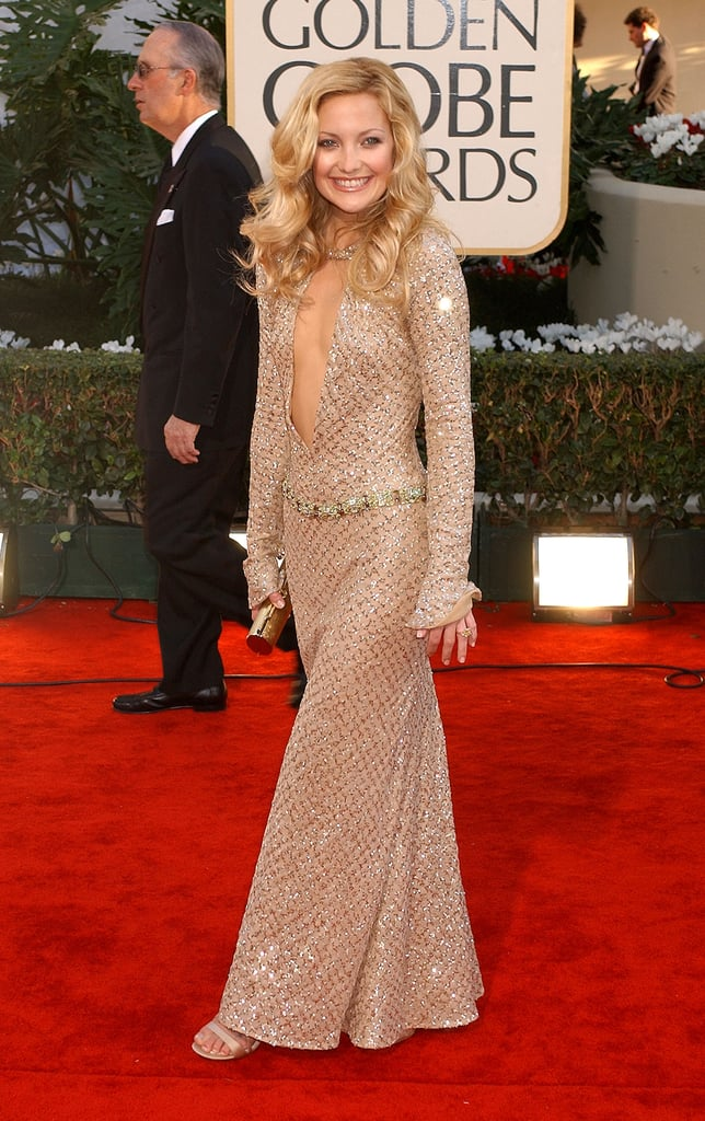 Kate Hudson in Plunging Atelier Versace at the 2002 Golden Globes