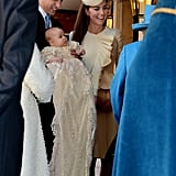Prince George's christening gown included a long train.