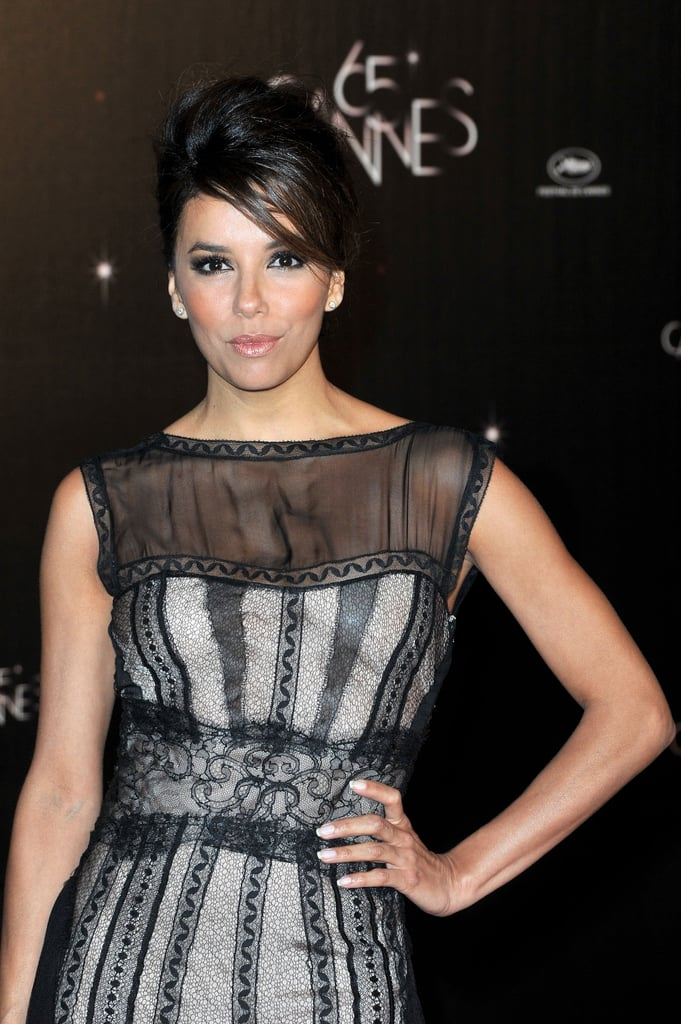 Eva Longoria wore a black-and-white gown to the opening dinner of the Cannes Film Festival.