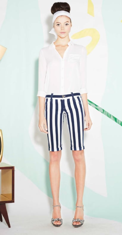 Short shorts have their place (like at Coachella), but right now we're really into longer cuts, like this striped pair from Alice + Olivia.