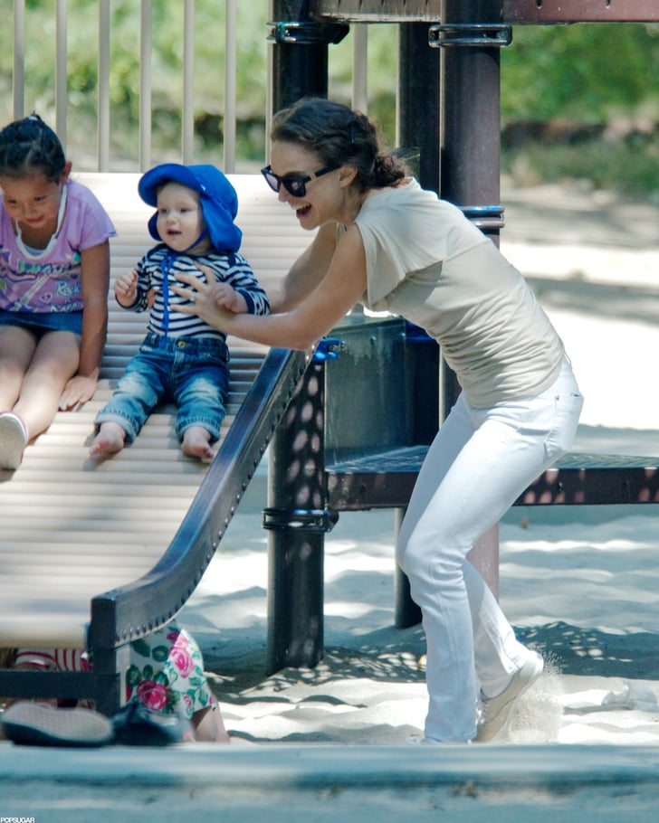 Natalie Portman and Aleph Hit the Slides During a Smiley Park Day