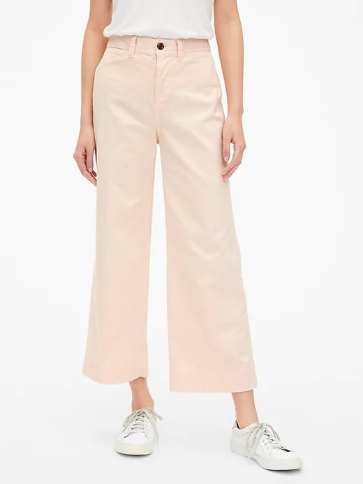 High Rise Wide-Leg Crop Chinos in Light Pink