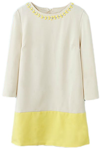 Romwe Colorblock Diamante Long Sleeved Yellow Dress ($40)