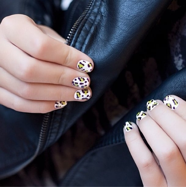 Neon + cheetah print = a wildly haute manicure. Source: Instagram user butterlondon