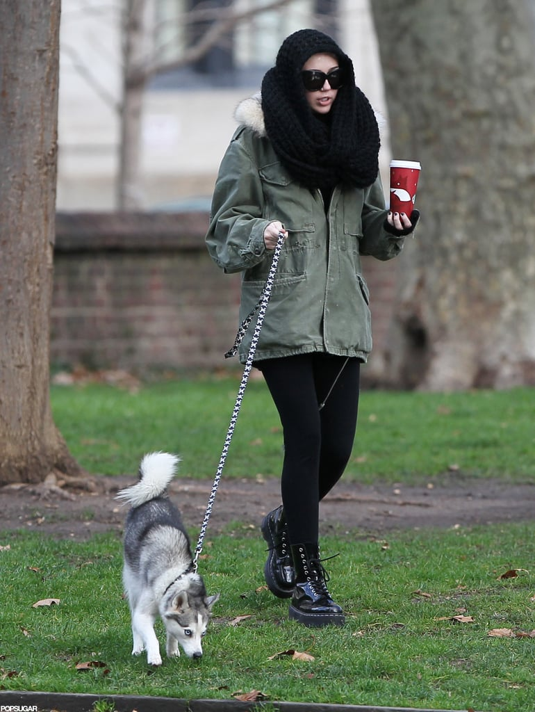 Miley Cyrus Brings Her Pup Floyd Along For a Philly Starbucks Run