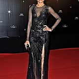 Freida Pinto showed off some leg in a black dress with a slit at the opening dinner of the Cannes Film Festival.