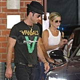 Jenifer Aniston and Justin Theroux headed to their car.