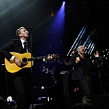 Chris Martin performed with Michael Stipe in NYC.