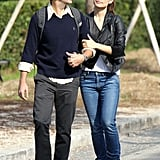Olivia Wilde and Jason Sudeikis chatted at they took a walk together.