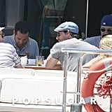 Leonardo DiCaprio chatted with friends on a yacht in Ibiza, Spain.