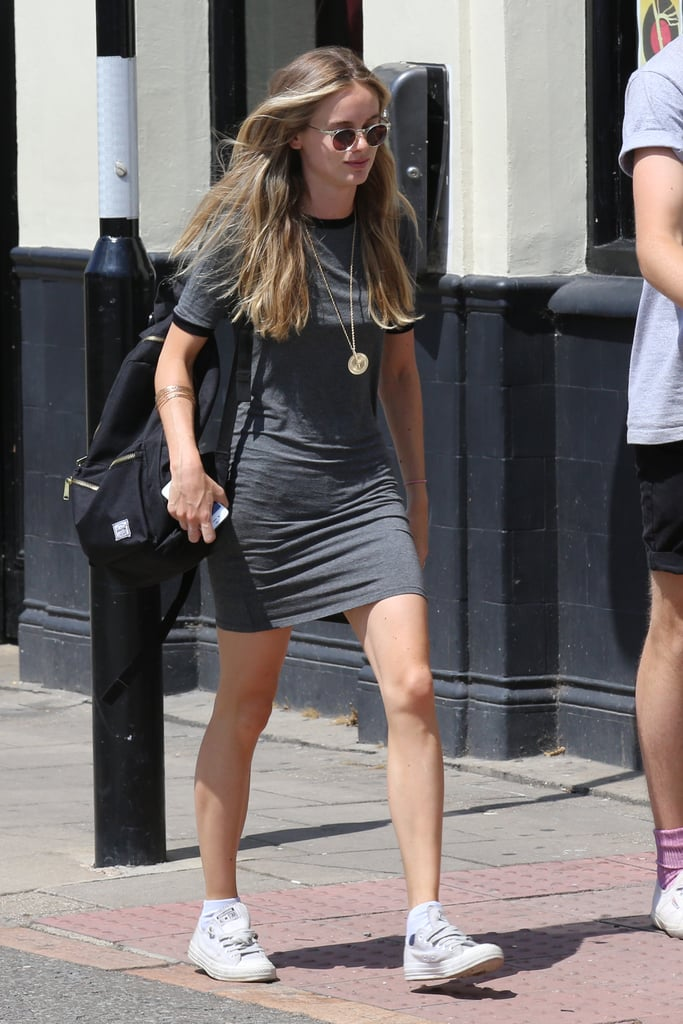 Cressida Rocks a Classic Jersey Dress With Sneakers