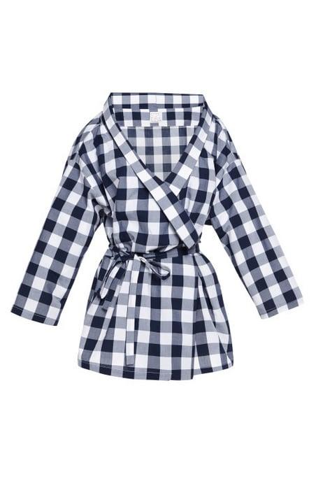Stella Jean Celery Kimono-Style Gingham-Print Shirt