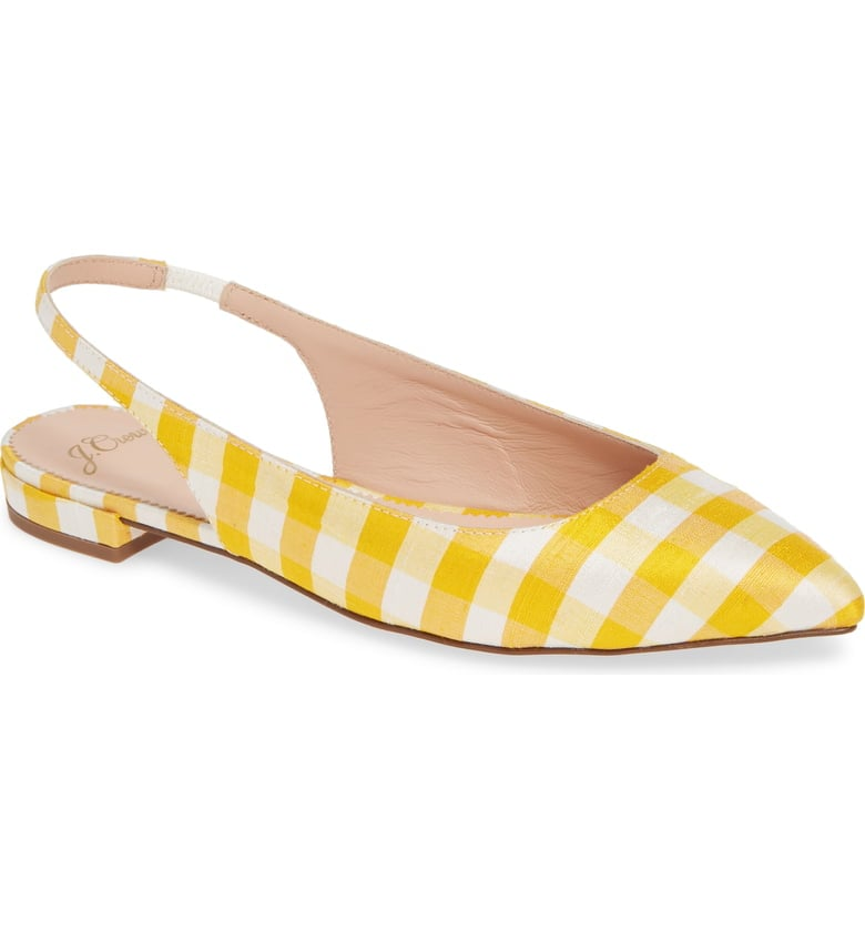 J.Crew Gingham Pointed-Toe Slingback Flats