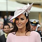 Kate's pink Jane Corbett hat was perfectly suited to her Emilia Wickstead dress at a garden party at Buckingham Palace in 2012.