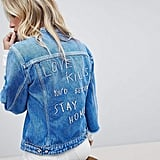 Replay Collarless Denim Jacket with Raw Hem Sleeve and Embroidery
